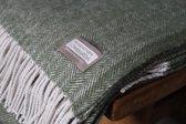 Prachtig Plaid - Manifattura Lombarda - 130x175 fishbone - Visgraatmotief - Mosgroen - Italiaans Kwaliteitsproduct sinds 1962