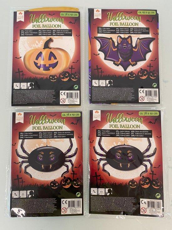 Halloween decoratieve folie ballon (vleermuis/spin/pompoen) - set van 4 stuks