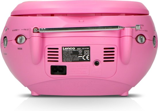 Lenco SCD-24 - Radio CD-speler met AUX-uitgang – Roze