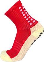Gripsokken voetbal rood- sportsokken - grip - one size - anti blaren - compressie - prestatieverhogend - tennis - hardlopen - handbal - sporten - fitness - tennissokken