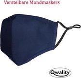 Mondkapje Wasbaar - Verstelbaar Mondmasker - Stof - Katoen - Met Neusbrug - Donker Blauw - Qwality