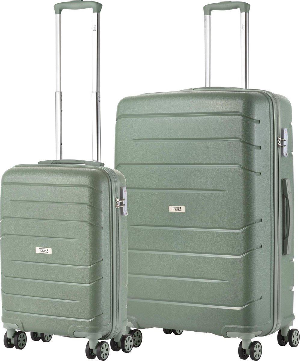 TravelZ Big Bars Kofferset - Trolleyset TSA 2-delig - Handbagage en groot - Olijf