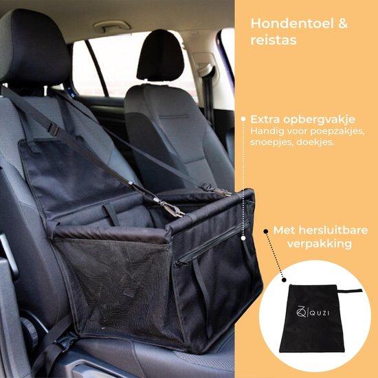 Quzi Autostoel voor honden- Hondenmand voor onderweg-Waterproof- Opvouwbare Hondenmand - Stoelbeschermer-Autozitje-Stoelbeschermhoes-Auto Bench - Reistas/Mand voor Dieren-40x32-Zwart