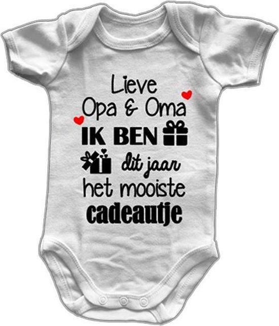 Baby Rompertjes Met Tekst - Lieve Opa en Oma ik ben dit jaar het Mooiste Cadeautje - Korte Mouw - Maat 50/56 - Zwangerschap Aankondiging - Baby Cadeau