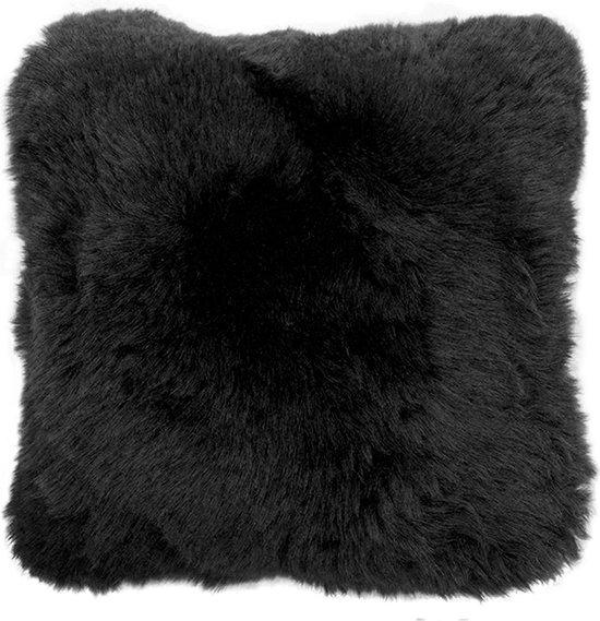 Kussen schapenvacht zwart 100% Merino wol sierkussen