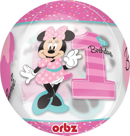 Minnie Mouse Helium Ballon 1 jaar Bal 40cm leeg