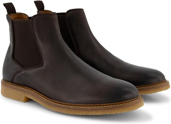 Travelin' Glasgow Chelsea - Halfhoge Leren herenschoen - boot - Nette schoenen - Donkerbruin Leer - Maat 44