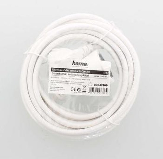 Hama ''Profi'' Extension Cable with Earth Contact, 5 m, white Wit