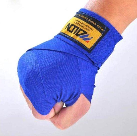 2 stuks/rollen 2.5 M Katoen - Blauw - Boksen Sport Strap Kick Boksen Bandage Sanda Muay Thai Karate MMA Taekwondo Hand handschoenen Wraps | Boxen | Bokspads | Fitness | Thai Boxing |