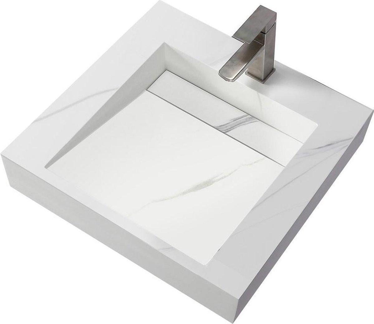 Wastafel Hangend Marble Rechthoek 60.2x45.2x8cm Solid Surface Marmerlook Wit Zonder Kraangat
