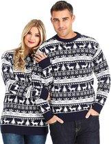 "Foute Kersttrui Dames & Heren - Christmas Sweater - ""Modern Blauw & Wit"" - Kerst trui Mannen & Vrouwen Maat XXXL"