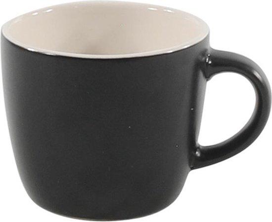 Kleine Mat Zwarte Koffiemokjes (6 stuks)- Keramisch -110 ML. 6.5cmØ. 5.7cm hoog - Koffiebeker - Koffiekopjes - Espressokopjes - Mokken - Glazen - Bekers