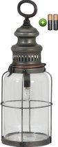 Tafellamp lantaarn LED - Woonkamer - Slaapkamer - Industrieel - Vintage -  Voor binnen & buiten - Tin Koper- Incl lamp + batterijen