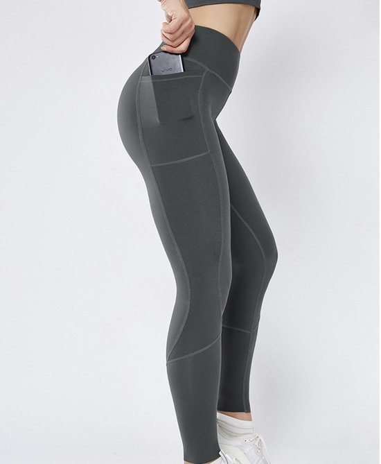 Especially Sportlegging High waist Dames - Maat L - Mobiel Opbergzakken - Fitness - Gym - Yoga - Hardloop - Vechtsport - Sport Legging Grijs