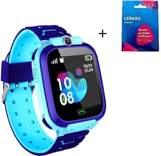 Smartwatch Kinder Horloge - GPS tracker- Digitale touchscreen - Blauw