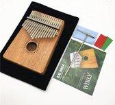 Kalimba Met 17 Tonen - Complete Set Inclusief Stemhamer - Origineel Mahonie Hout - Handgemaakt