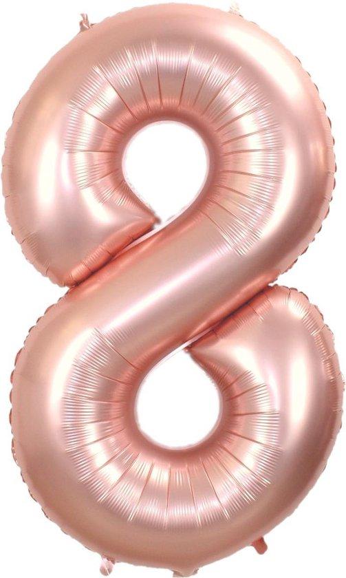 Folie Ballon Cijfer 8 Jaar Rosé Goud 36Cm Verjaardag Folieballon Met Rietje