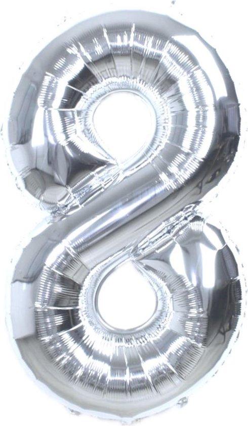 Folie Ballon Cijfer 8 Jaar Zilver 36Cm Verjaardag Folieballon Met Rietje