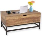 Happy Home HWT02-HOL - heftafel salontafel met grote, verborgen opbergruimte voor woonkamer-80x48x40cm - hout