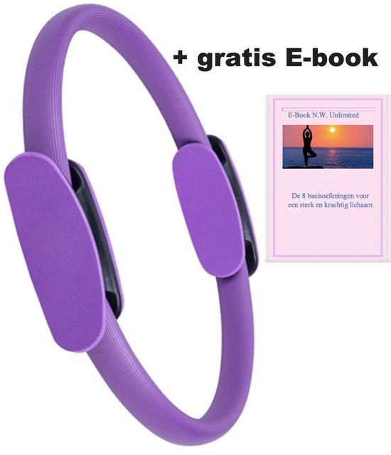 N.W. Pilates/ Yoga Ring - Paars - Ø 38 cm + Gratis E-book -  Magic Circle - Weerstandsring - Sport Ring - Pilatus - Sporten - Thuis Sporten - Heuptrainer - Fitnessmaterialen - Buikspier Ring - Trainingsring