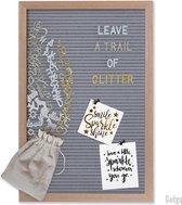 Gadgy Letterbord grijs vilt – Houten lijst - 30x45cm - inclusief 3 kleuren letters etc.- Leuk cadeau