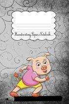 Handwriting Paper Notebook: Pig Black Cover Handwriting Practice Notebook Kindergarten Preschool Key Stage 1 Longhand Joined-up writing for Kids 1