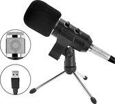 BM800 USB Condensator Studio microfoon met Tripod Stand - Microfoon voor pc - Microfoon usb - ingebouwde geluidskaart van hoge kwaliteit - Zwart