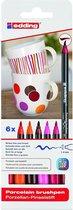 edding Porseleinstiften - Porselein markers - 6 warme kleuren - vaatwasbestendig - Ronde punt