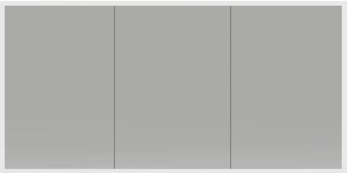 Spiegelkast Quatro 140x70x13cm Aluminium Geintegreerde LED Verlichting Sensor Lichtschakelaar Stopcontact Glazen Planken