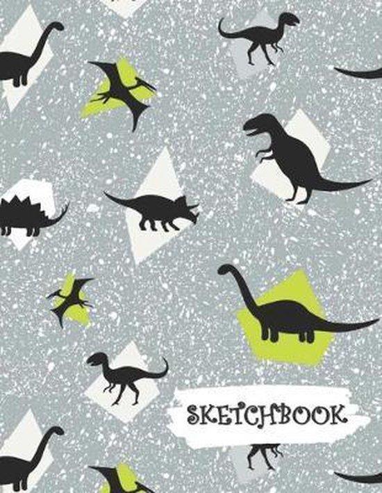 Sketchbook: Grey Dinosaur Fun Framed Drawing Paper Notebook