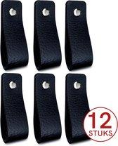 Leren handgrepen - Zwart - 12 stuks - 16,5 x 2,5 cm | incl. 3 kleuren schroeven per leren handgreep