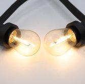 Prikkabel set met LED lampen, 10 meter met 10 fittingen - 1 watt filament lampen (2700K)
