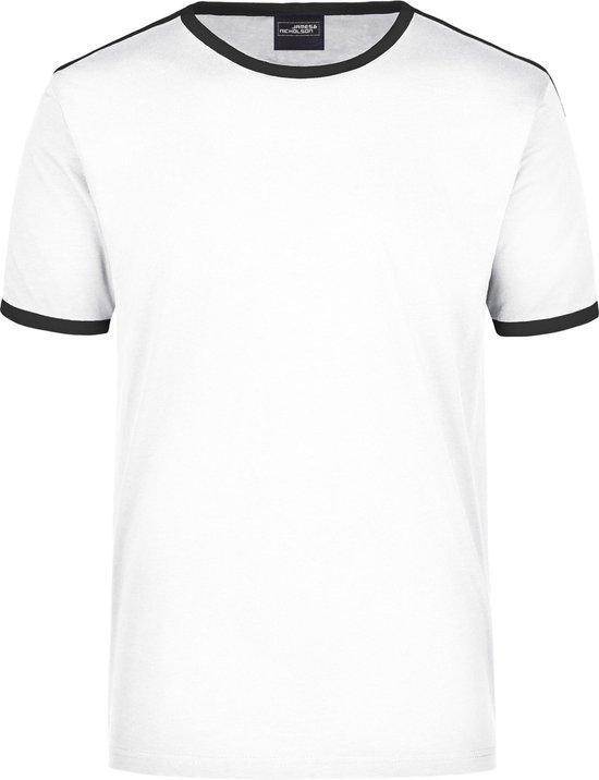 Wit met zwart heren t-shirt L