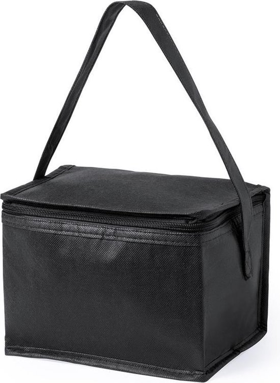 Kleine mini koeltasjes zwart sixpack blikjes - Compacte koelbox/koeltas
