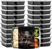 Meal Prep Bakjes - 20 stuks - 3 compartimenten - Lunchbox - Diepvriesbakjes - Vershoudbakjes - Plastic Bakjes Met Deksel - Magnetron Bakjes Met Deksel - Meal Prep - Vershouddoos - 1L - BPA vrij - Fitcrafters
