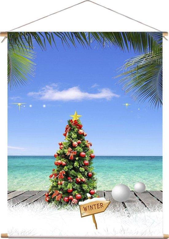 Kerst doek - 90X120 cm - Kerstboom met ballen op vlonder strand - textiel poster - decoratie - winter poster - kerst decoratie - tropical christmas - tropische kerst - kerstversiering