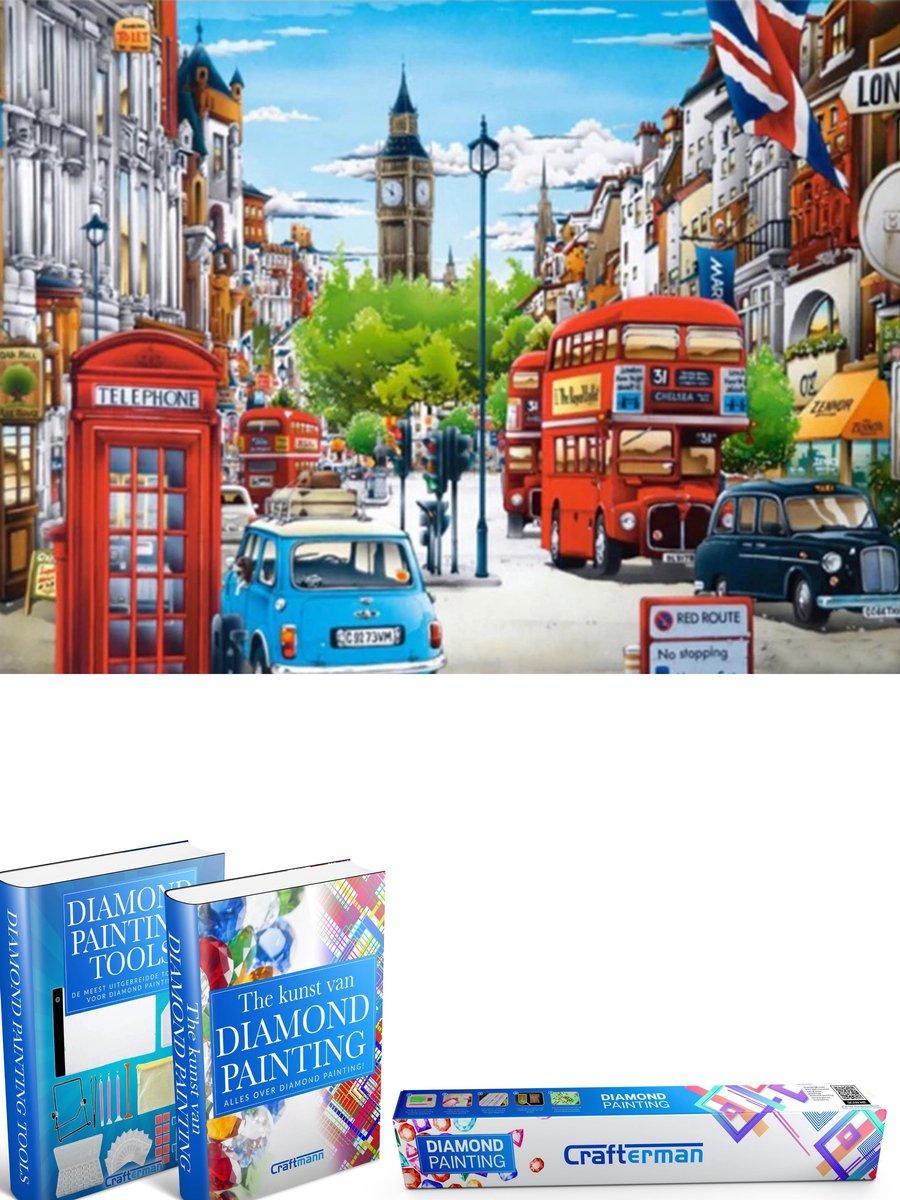 Crafterman™ Diamond Painting Pakket Volwassenen - Kleurrijk Londen - 50x40cm - volledige bedekking - vierkante steentjes - Met tijdelijk 2 E-Books - Moederdag cadeau