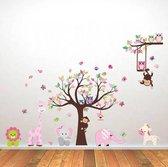Muursticker babykamer - kinderkamer Jongen Meisje. Roze - Multicolor. Boom - Dieren - Zoo. Uil Aap Olifant Giraf Leeuw Vlinder