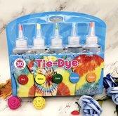 DIY 5 Kleuren Tie Dye Kit  - Tie dye verf - Tie Dye Set - Tie Dye Paint - Premium kwaliteit