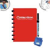Correctbook - A5 - Gelijnd - Rood - Uitwisbaar / herbruikbaar / whiteboard notitieboek