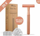 Bamboozy Safety Razor + 20 scheermesjes Rose Gold Goud voor vrouwen dames Double Edge Single Blade Zero Waste Duurzaam Scheermesje