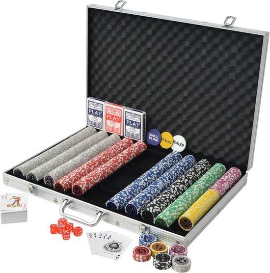 Afbeelding van het spel 1 x Pokerset met Koffer 1000 Chips - Poker chips set - Pokerset Alumunium Koffer