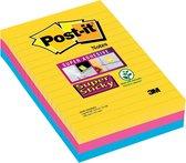 Post-it® Super Sticky Notes, Kleurenset Rio, Canary Yellow™, Mediterraan blauw, Fuchsia - Gelijnd - 3 blokken