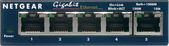 Netgear ProSAFE GS105 - Netwerkswitch - Unmanaged - Desktop - 5 Gigabit Ethernet poorten