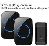 Afbeelding van Beepower Draadloze Deurbel met 2 Ontvangers - Plug&Play - Regelbaar Volume / Melodie - Oplichtende LEDs - De belset werkt geheel zonder batterijen