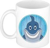 1x Haaien beker / mok - 300 ml keramiek - haai bekers voor kinderen