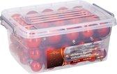 Christmas gifts Kerstballen - 70 ballen - set in box  - Plastic / Kunststof - Rood