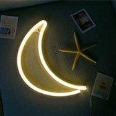 Hanglamp Neon Maan Geel -Wandlamp - Hanglamp - 30 CM - ledlamp op batterijen