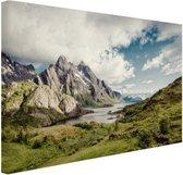 Berggebied Canvas 80x60 cm - Foto print op Canvas schilderij (Wanddecoratie woonkamer / slaapkamer)