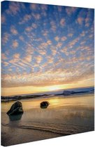 Zonsondergang op het strand Canvas 60x80 cm - Foto print op Canvas schilderij (Wanddecoratie woonkamer / slaapkamer) / Zee en Strand